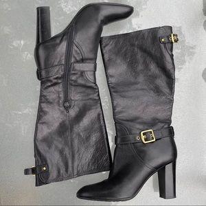 Coach Black Leather Chunky Heel Robynn Boots 8.5